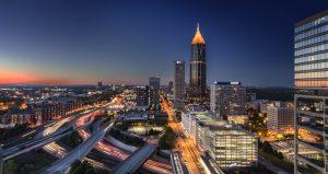 Atlanta Georgia cityscape at night